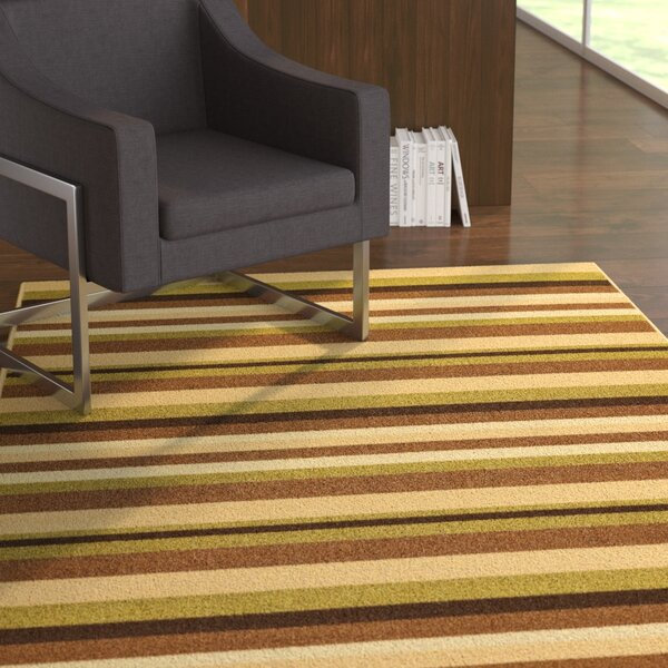 Covey Stripes Green/Ivory Area Rug by Ebern Designs