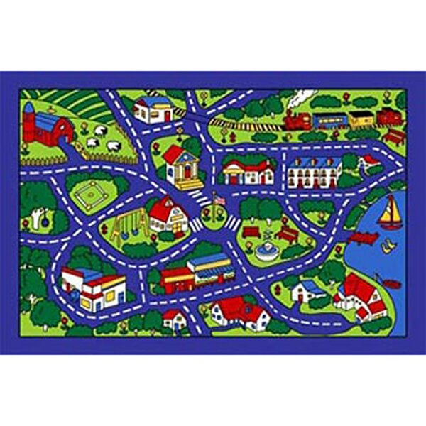 Kids Street Map Blue/Green Area Rug by Sintechno