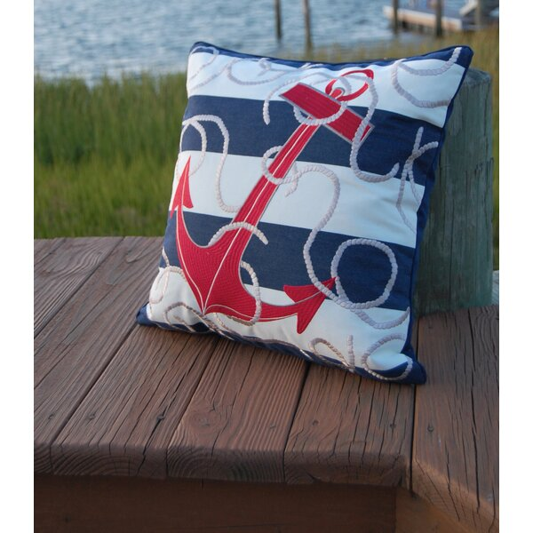 Sudie Anchor Embroidered Outdoor Throw Pillow by Longshore Tides