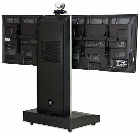 Moble Telepresence Stand with Dual Monitor Mount for 32 -70 Displays by VFI