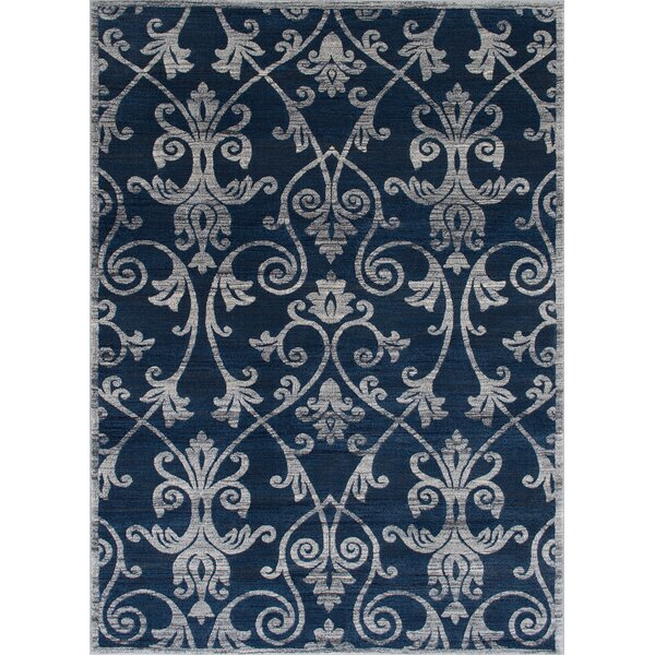 Audric Contemporary Floral Thunder Blue Area Rug by Darby Home Co