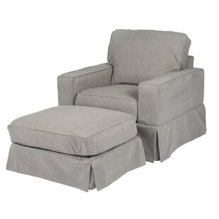 Elsberry Box Cushion ArmchairOttoman Slipcover