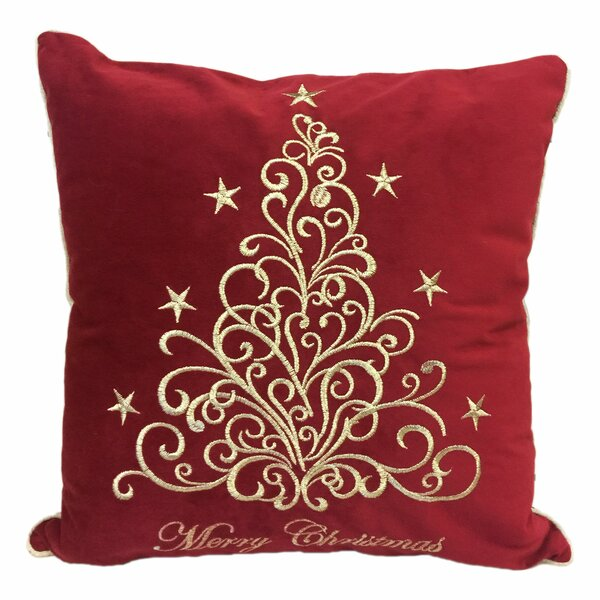 Holidays Fancy Embroidered Velvet Throw Pillow by The Holiday Aisle