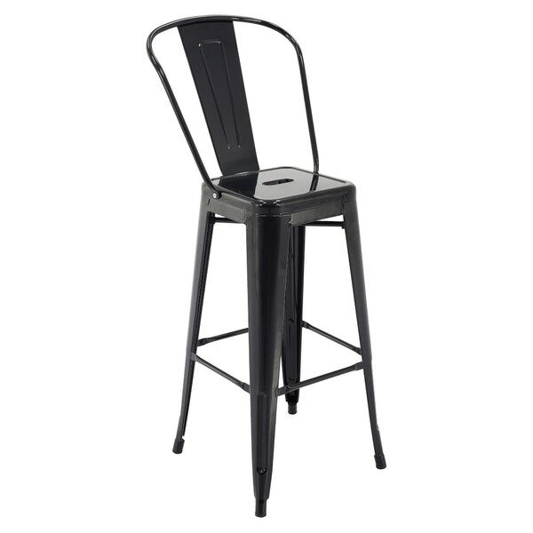 Feliciano Rust-Resistant Metal 30 Patio Bar Stool with Back (Set of 4) by Ivy Bronx