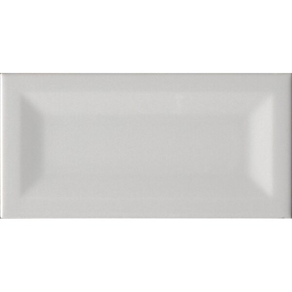 Inverted 3 x 6 Beveled Ceramic Subway Tile in Glossy Gray by MSI