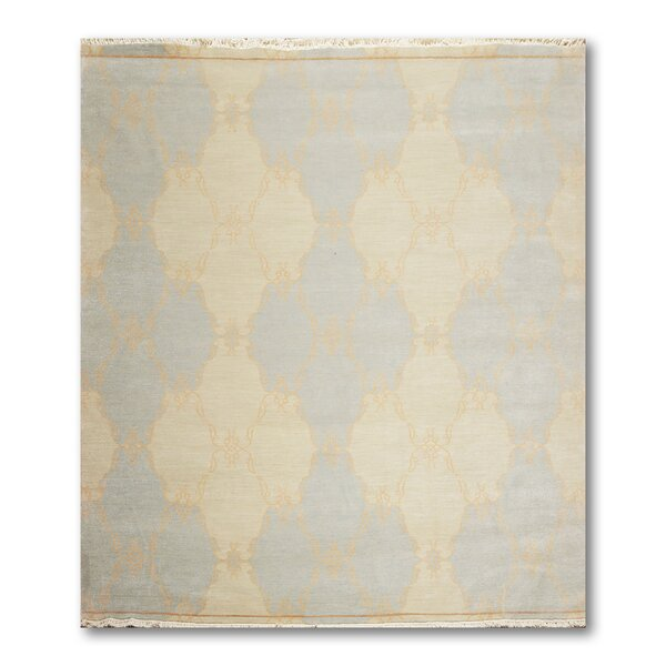 One-of-a-Kind Queener Hand-Knotted Wool Beige/Blue Area Rug by Bloomsbury Market