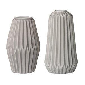 Ransome 2 Piece Ceramic Fluted Vase Set