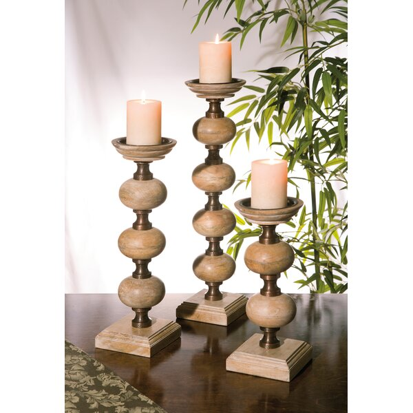 3 Piece Wood Candlestick Set by World Menagerie