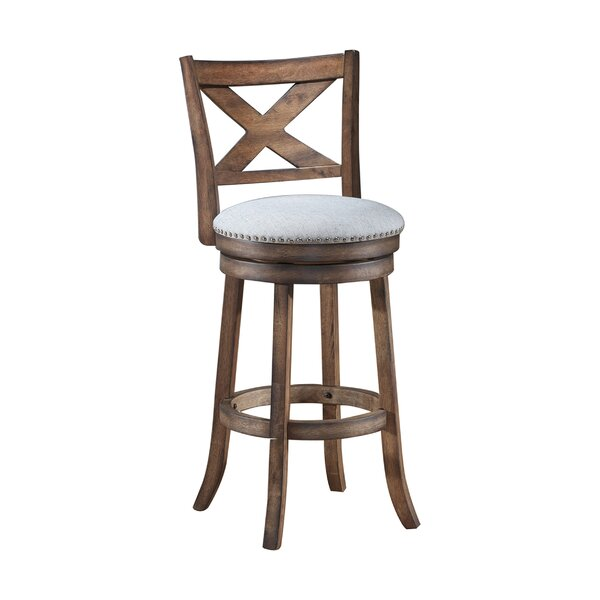 Mackin Wooden Swivel Bar Stool by Gracie Oaks