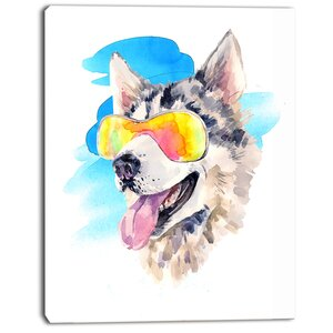 'Siberian Husky Dog in Sunglasses' Oil Painting Print on Canvas by East Urban Home