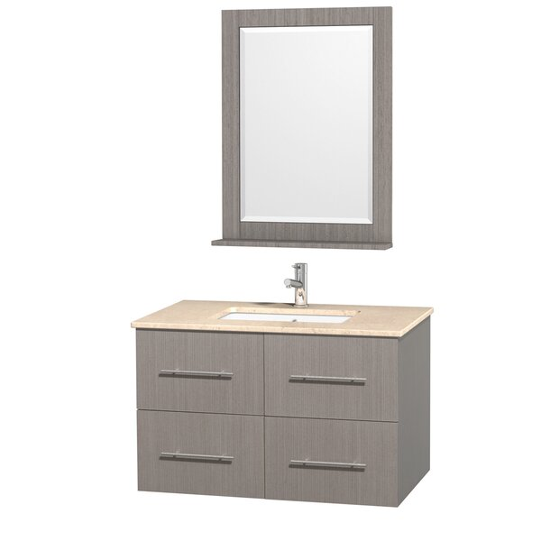 Centra 36 Single Gray Oak Bathroom Vanity Set with Mirror by Wyndham Collection