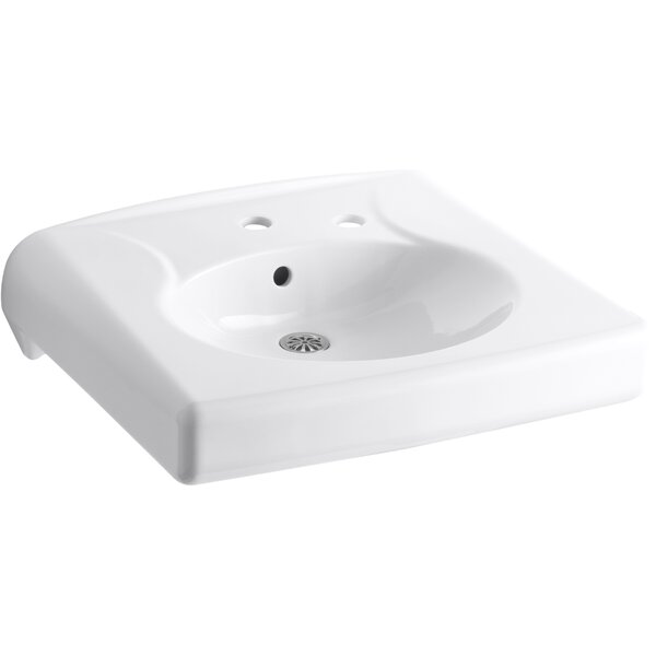 Brenham™ Wall-Mounted or Concealed Carrier Arm Mounted Commercial Bathroom Sink with Single Faucet Hole and Right-hand Soap Dispenser Hole, Antimicrobial Finish by Kohler
