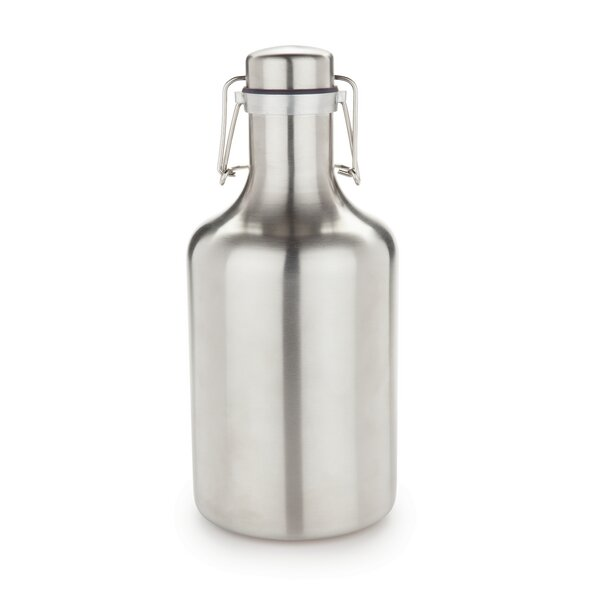 Grizzly Flip Top Stainless Steel 64 Oz. Growler by Viski