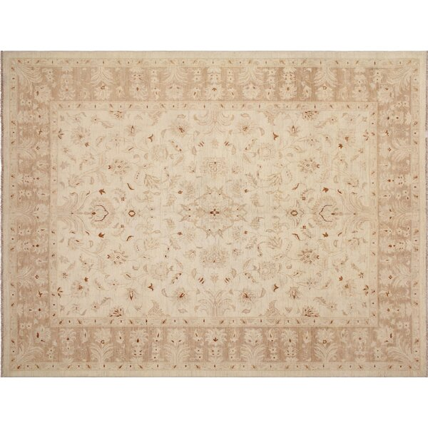 One-of-a-Kind Romona Hand-Knotted Oriental Ivory Premium Wool Indoor Area Rug by Isabelline