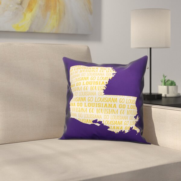 Louisiana Go Team Square Throw Pillow by East Urban Home