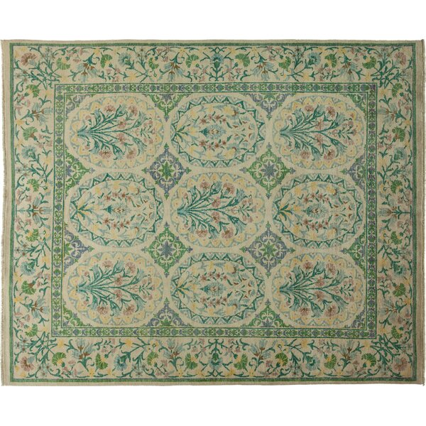 One-of-a-Kind Suzani Hand-Knotted Green Area Rug by Darya Rugs