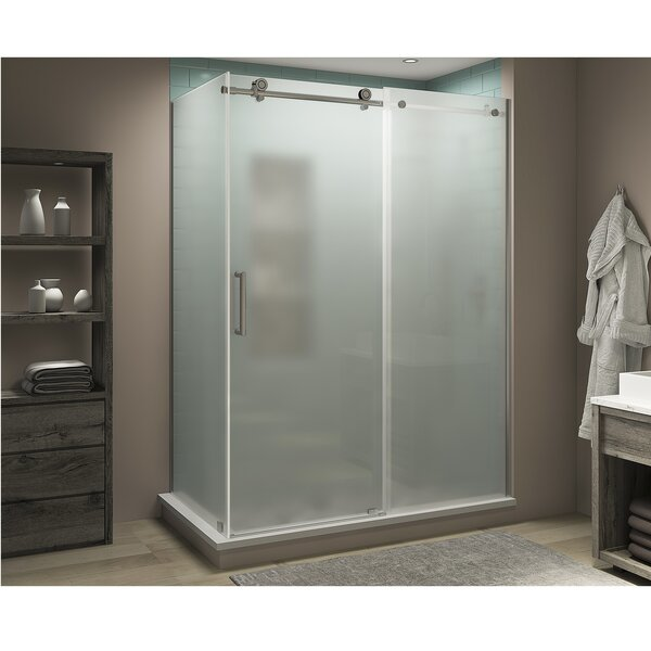 Coraline XL 60 W x 80 H Frameless Rectangle Sliding Shower Enclosure with Fixed Panel