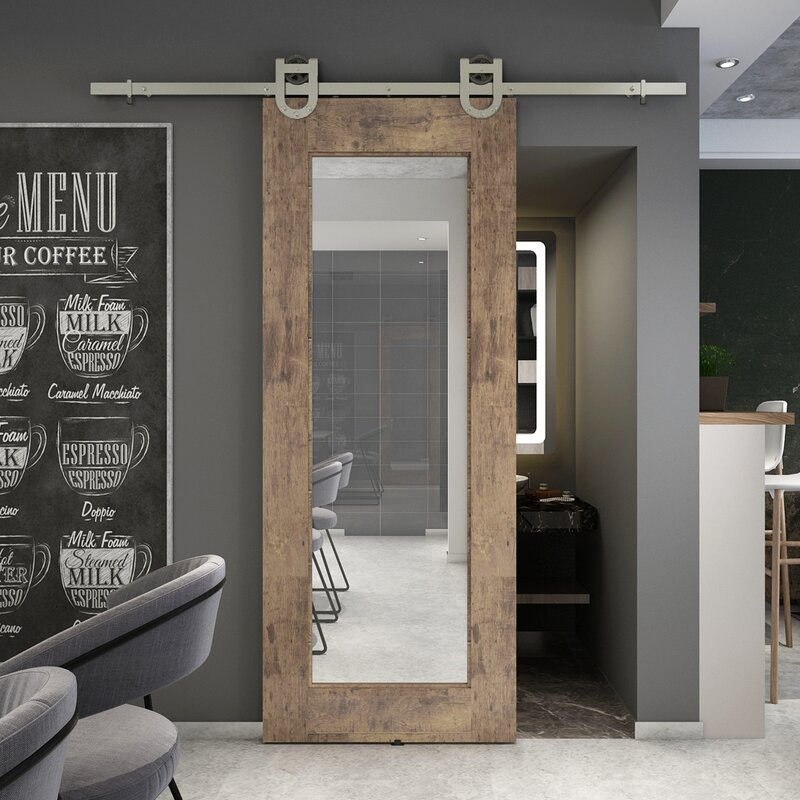 Reflex Glass Barn Door without Installation Hardware Kit