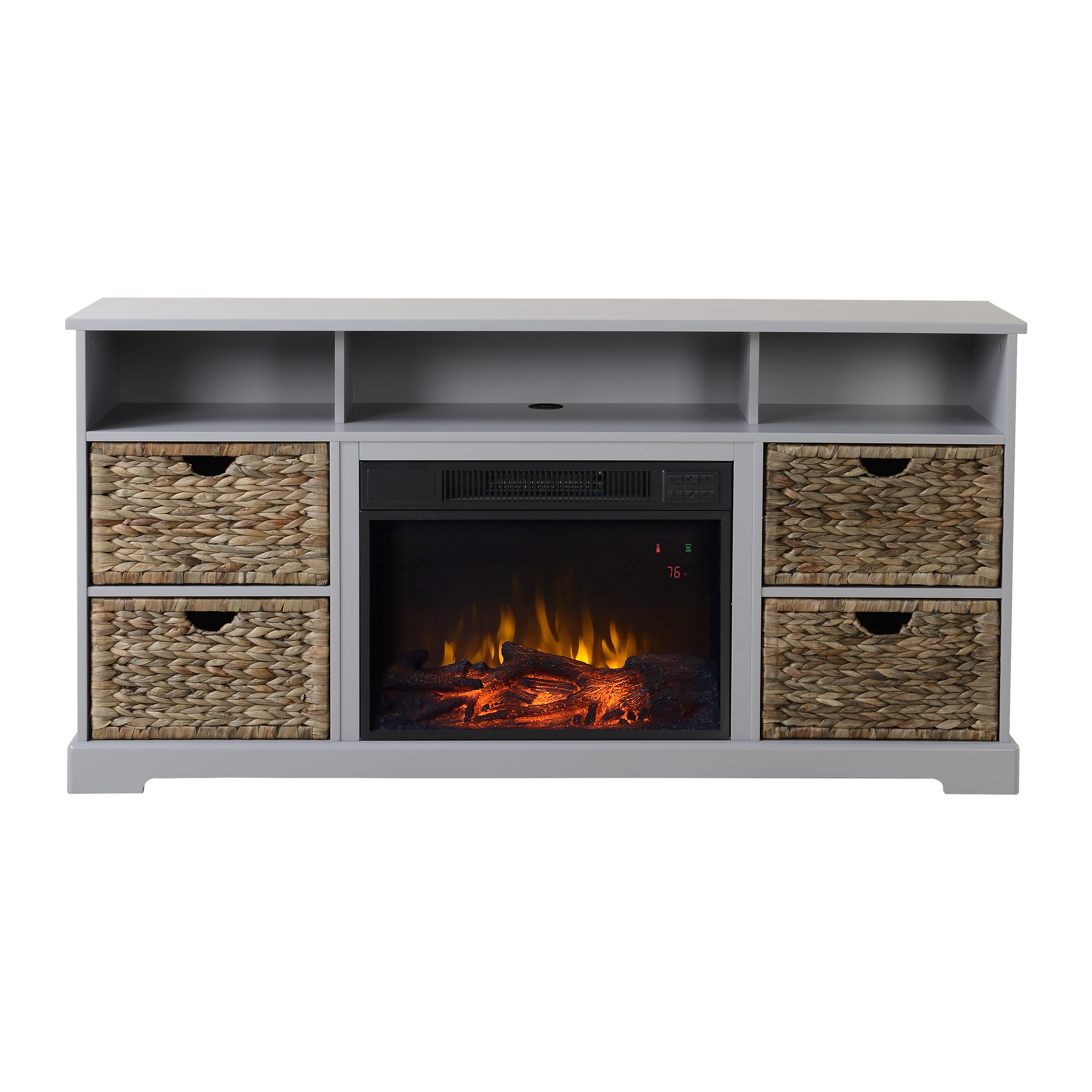 electric brown tv fireplace muskoka stand p media kit stands hudson rustic in