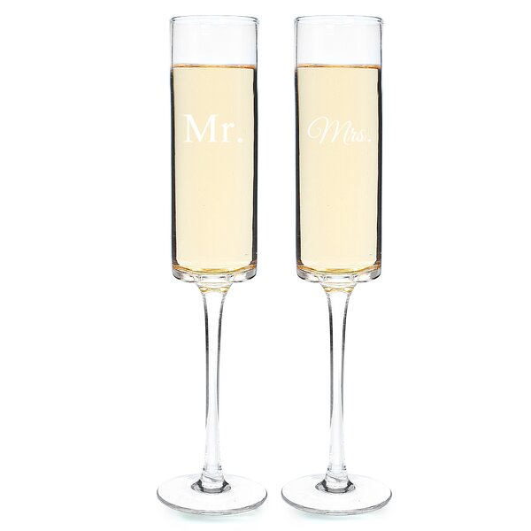 Mr. and Mrs. 2 Piece Contemporary Champagne Flutes Set by Cathys Concepts