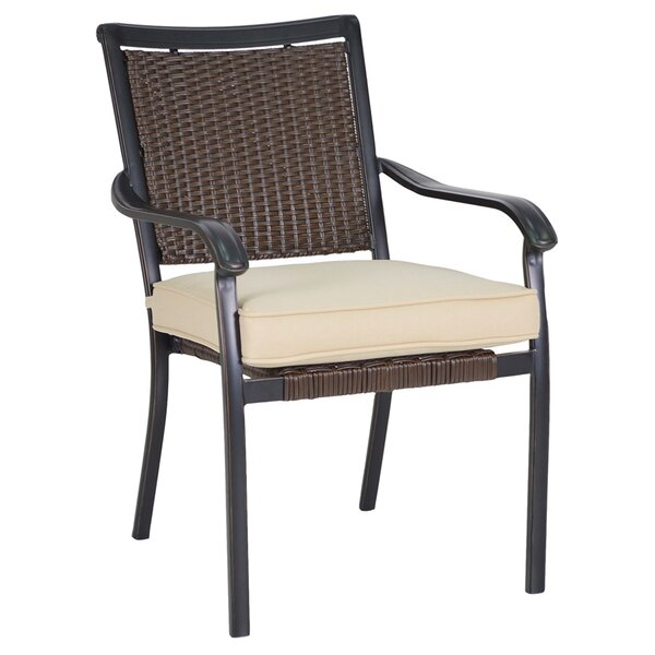 Shreya Woven Stacking Patio Dining Chair with Cushion (Set of 2) by Alcott Hill