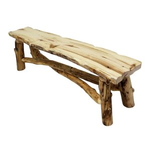 Aspen Grizzly Wood Bench by Mountain Woods Furniture