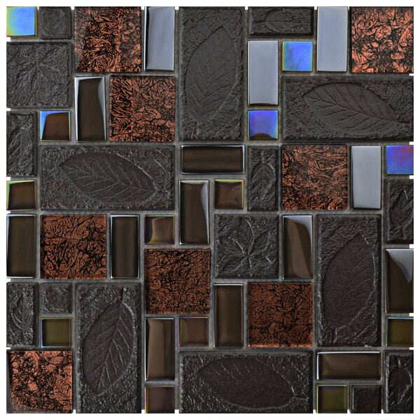 Eden Random Sized Glass and Stone Mosaic Tile in Walnut by EliteTile