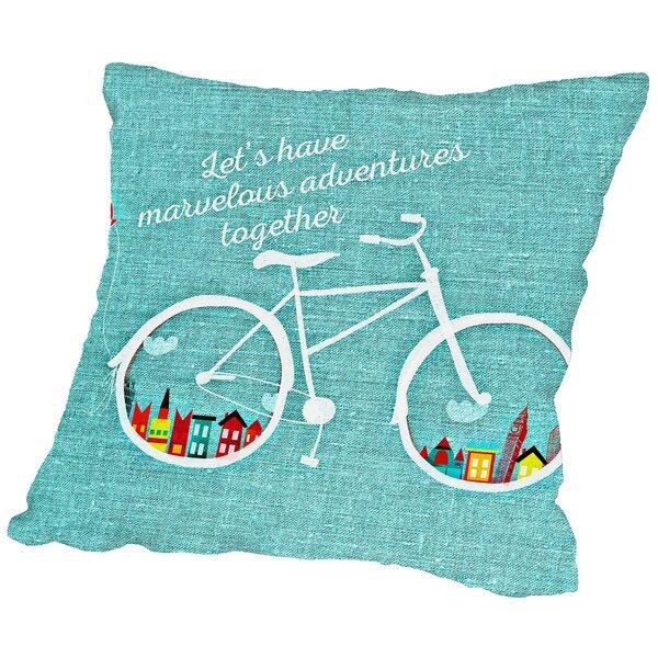 Adventure Bike Throw Pillow by East Urban Home