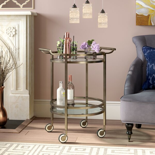 Walferdange Round Bar Cart by Mistana