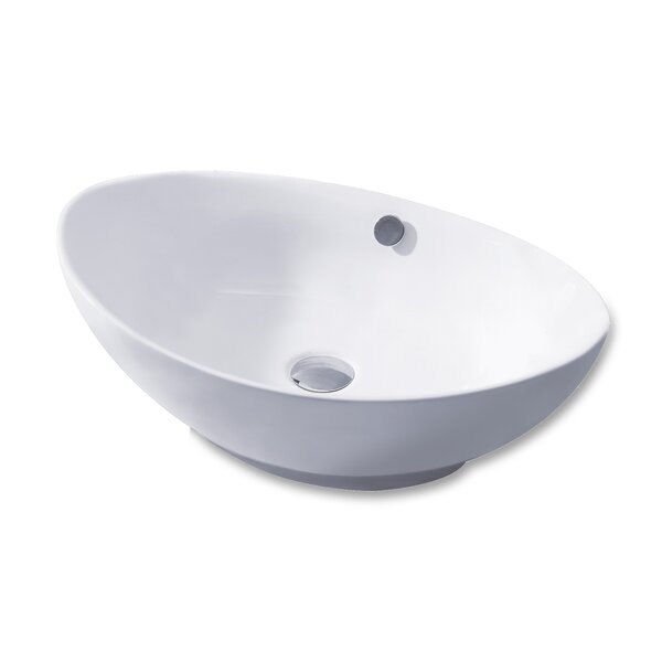 L-004 Bathroom Egg Ceramic Oval Vessel Bathroom Sink with Overflow by Luxier