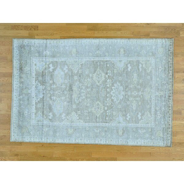 One-of-a-Kind Bearer Washed Out Art Hand-Knotted Grey Silk Area Rug by Isabelline