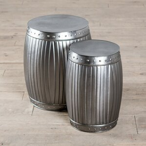 Fluted Round Barrels 2 Piece End Table Set by ZallZo