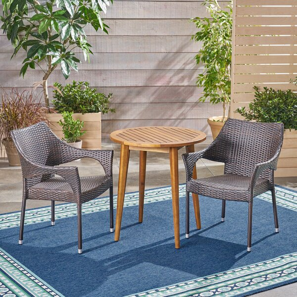 Hensel Outdoor 3 Piece Bistro Set by Wrought Studio