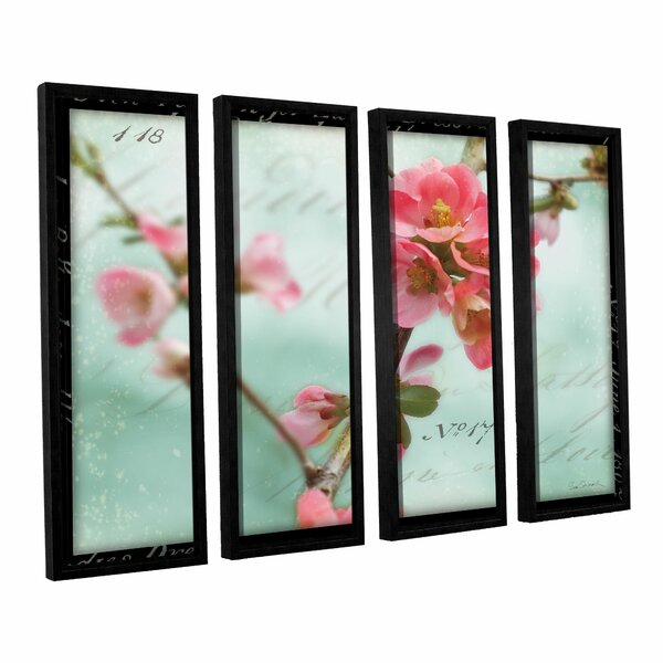 Quince Blossom 4 Piece Framed Photographic Print Set by Red Barrel Studio