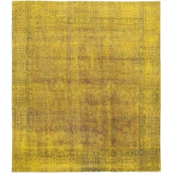 One-of-a-Kind Vaca Hand-Knotted Wool Yellow Indoor Area Rug by Bloomsbury Market