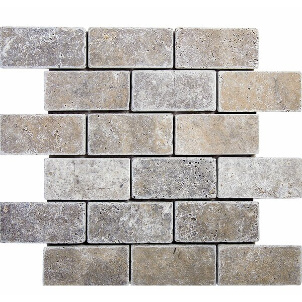 Tumbled Brick 2 x 4 Stone Mosaic Tile in Silver by Parvatile