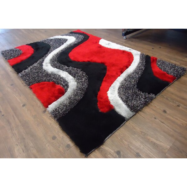 Hand-Tufted Black/Red Area Rug by Rug Factory Plus