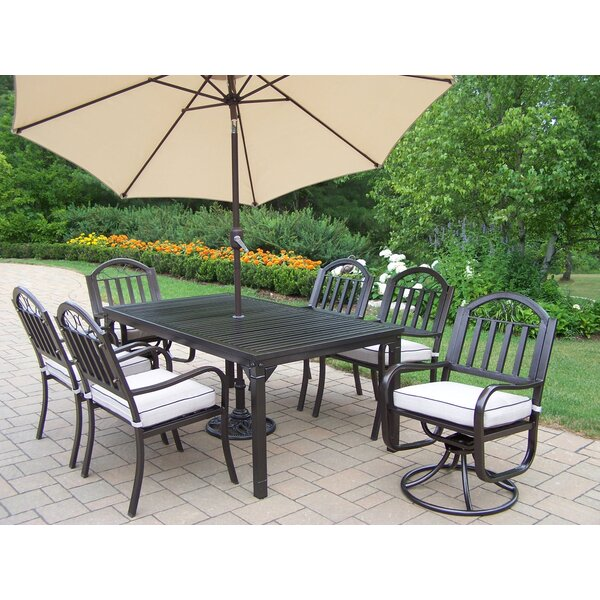 Lisabeth 9 Piece Dining Set with Cushions and Umbrella by Red Barrel Studio