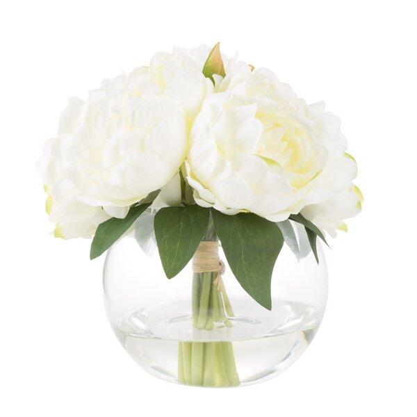 Rose Floral Arrangement in Glass Vase by Gracie Oaks