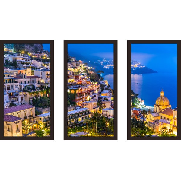 Positano village at Amalfi Coast, Italy 1 3 Piece Framed Photographic Print Set by Picture Perfect International