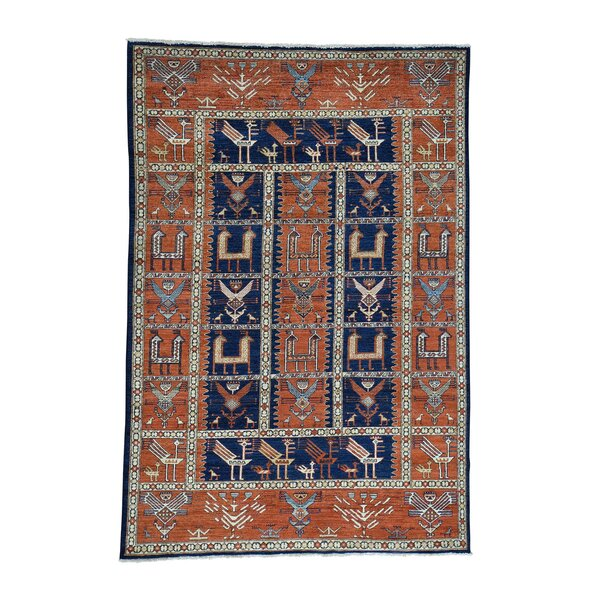 One-of-a-Kind Hoffman Caucasian Akstafa Hand-Knotted Wool Blue Area Rug by Bloomsbury Market