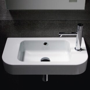 Traccia Ceramic 22 Wall Mount Bathroom Sink with Overflow ByGSI Collection