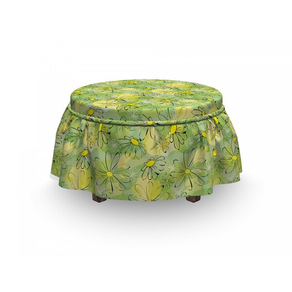 Floral Doodle Daisy Branches 2 Piece Box Cushion Ottoman Slipcover Set By East Urban Home
