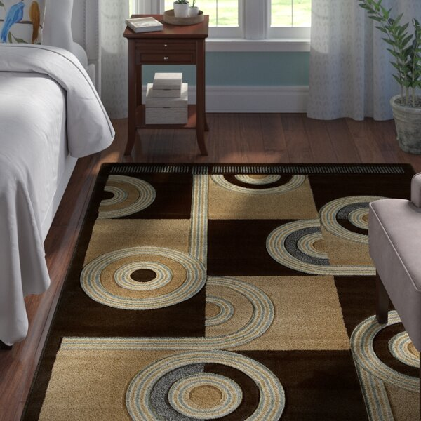 Ganley Spiral Canvas Chocolate Rug by Andover Mills