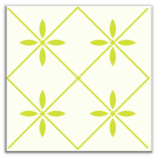 Folksy Love 4-1/4 x 4-1/4 Satin Decorative Tile in Glass Yellow-Green by Oscar & Izzy