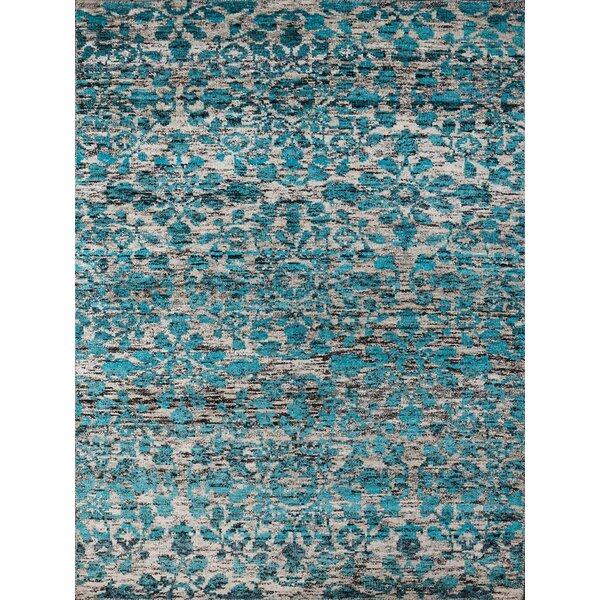 Melodie White & Aqua Area Rug by Bungalow Rose