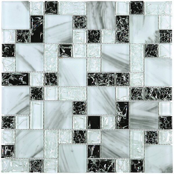 Crushed Random Sized Glass Tile in Blue/Black by Multile
