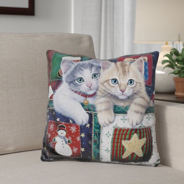 Berkey Christmas Calendar Kittens Throw Pillow by The Holiday Aisle