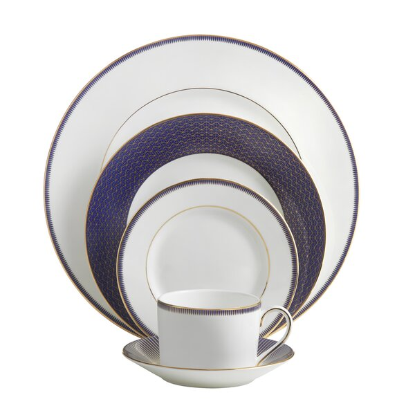 Lismore Diamond Lapis Bone China 5 Piece Place Setting, Service for 1 by Waterford