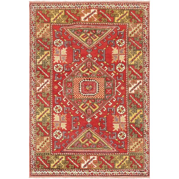 Oushak Hand Woven Wool Red/Green Area Rug by Pasargad